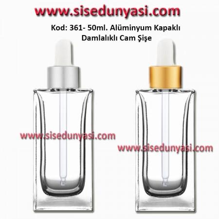 Cam Pipetli Damlalıklı Kozmetik Cam Şişe 50ml Kod: 361